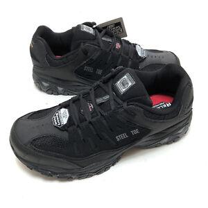 Skechers for Work Mens Cankton -U Industrial Shoe Black 12 Steel Toe Boot 77055