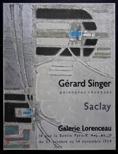 Gérard SINGER 1959 Affiche lithographie Mourlot original Art Contemporain Saclay