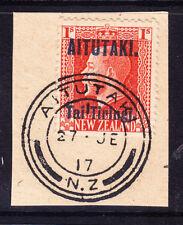 COOK IS AITUTAKI 1917 GV SG14a 1/- verm of NZ opt P14x141/2 very fine used cv£90