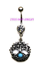 Antiqued Tree of Life Turquoise Stone Stainless Steel Dangle Belly Navel Ring