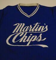 MARTINS Potato CHIPS Vintage 70's SOFTBALL TEAM Employee Beer League Blue Jersey