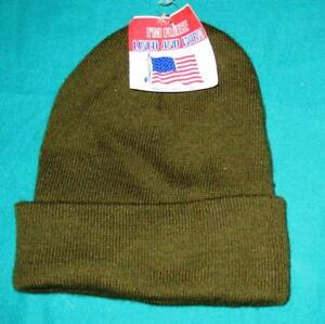 Artex  Fleece line  Beanie -  Made in USA - Knit Hat - Olive Drab