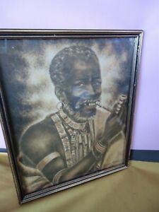 African XHOSA MAN With Pipe MIZRAIM MASEKO 1970 Framed/Glass Print #10623