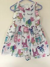 Girls Summer Dress 5-6 Years Cat Mouse Bird Design White Next Day Dispatch