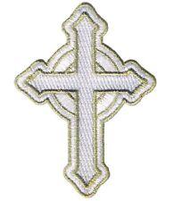 Celtic Cross Applique Patch - Irish British Christian, White/Gold (Iron on)