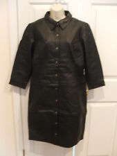 NWT NEWPORT NEWS  2 in 1 CONVERTABLE  Leather Long Jacket Coat Black SIZE 12