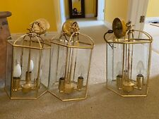 More details for antique brass chandelier and lanterns (5 in all)