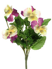 Pack of 3 Large Artificial Pansy Bush  29cm - White Yellow and Purple Flowers