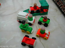 FISHER PRICE PEOPLE - CARS/RAMP - AMBULANCE - SMALL LOT FISHER PRICE PIECES