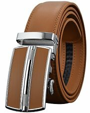 Leather Belts for Mens Ratchet Dress Belt Black Brown with Automatic Buckle