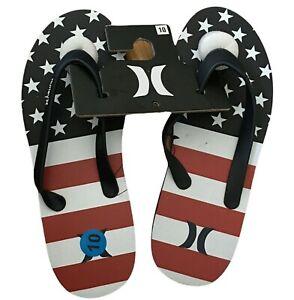 Hurley Men's Red White Blue American Flag Size 10 Flip Flops Sandals