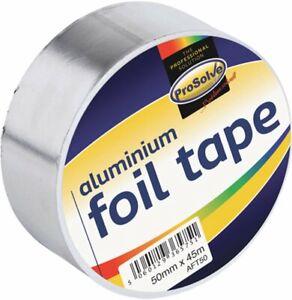 2 rolls Prosolve 50mm x 45m Aluminium Foil Tape Heat Insulation Reflective Duct