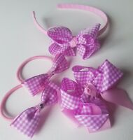 Pink & Lilac Gingham School  Summer Hair Bow Clip Alice band PonyTail Holders