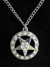 Masonic Ladies Eastern Star Round Shaped Necklace with Stones (N2678)