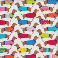 Cute Dachshunds with Colourful Coats on White Quilting Fabric FQ or Metre *New*