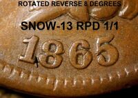 1865 Indian Head Cent (Plain 5) - SNOW-13, REPUNCHED DATE 1/1, ROT REV (K840)