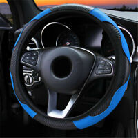 38cm PU Leather Car Steering Wheel Cover Anti-slip Blue Protector Accessories