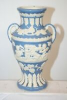 VINTAGE JAPAN WINGED CHERUB BLUE AND WHITE GLAZED DOUBLE HANDLE VASE  8''