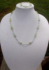 Green Aventurine Hearts and Freshwater Pearl Handmade Necklace & Bracelet Set