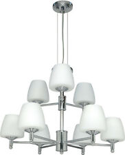 Polished Chrome 9 Light Chandelier With Satin White Glass
