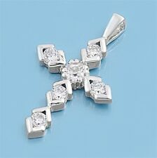 Christian Cross Pendant w Cubic Zirconia Sterling Silver 925 Jewelry Gift 23 mm