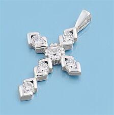 Christian Cross Pendant w Cubic Zirconia Sterling Silver 925 Jewelry Gift 23 mm