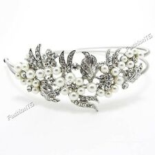 New bridal wedding flower pearl silver white headband  woman girl metal crystal