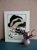 antique silhouette illustration of Japanese  fisherman by Katharine Sturges 1925