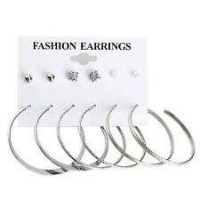 6 Pair Chic Women Ring Earrings Gold Silver Metal Hoop Big Circle Smooth Large