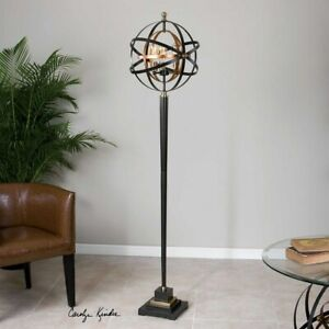 "RONDURE 75"" MODERN INDUSTRIAL METAL ARMILLARY SPHERE ACCENT FLOOR LAMP UTTERMOST"