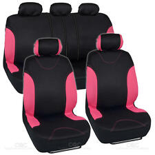 Flat Cloth Car Seat Covers Black & Pink Detail Stitching Split Option Bench 9pc