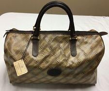 VINTAGE Balenciaga signature BB Brown & Beige Waxed Leather Barrel Purse Bag