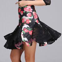 Latin Rumba Tango Dance Floral Fishtail Skirts Dress Salsa Samba Ballroom Rhythm