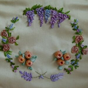 HANDMADE floral silk ribbon embroidery textile art - roses, lavender, wisteria