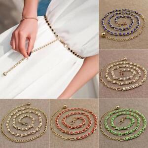 Women Waistband Girls Pearl Slim Party Metallic Gold Chain Beads Dress Belt