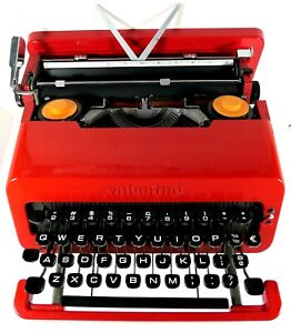 Vintage Olivetti Valentine S Portable Red Typewriter E. Sottass Reconditioned