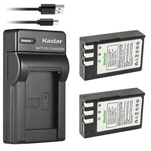 Kastar 2Pcs Battery + Charger for Nikon EN-EL9 EN-EL9a D40 D40X D60 D3000 D5000