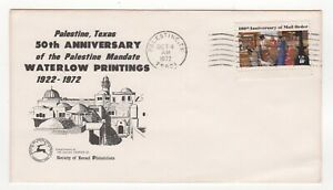 1972 USA Event Cover WATERLOW PRINTINGS ANNIVERSARY Palestine TX SG1473 ISRAEL