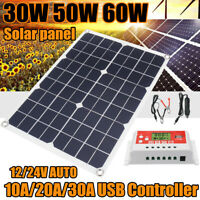 50W Solar Panel kit 12V battery Charge 10A/20A/30A Controller Caravan Boat Home