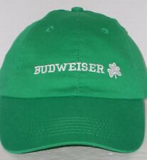 Budweiser The King of Beers Green Irish Shamrock Embroidered Touch Fastener Cap