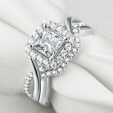 Aaa Cz 925 Sterling Silver Sz 6 Wedding Engagement Ring Set Princess Cut White