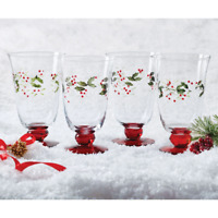 Pfaltzgraff Winterberry Etched And Hand Painted Set Of 3 Water Goblets 14 Oz.
