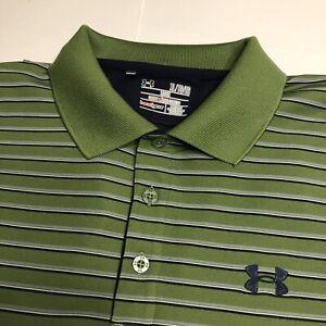 Under Armour Heat Gear Short Sleeve Polo, XL, Men's Green/Black/Grey Striped