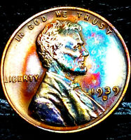 """1939 D Lincoln Wheat Penny Cent- """"Beautiful Toning"""" SUPERB GEM HIGH GRADE #13"""