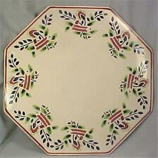Castle Germany Pottery Cake Stand Red Blue Folk Art Flowers Stencilled Off White