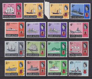 Gibraltar 1967 Used FU Full Set Definitives 15+2 values Ships Hood Victory Royal