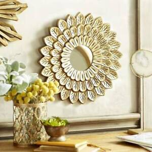Wooden Wall Mirror Frame For Home Living Room Decorative With Round Mirror