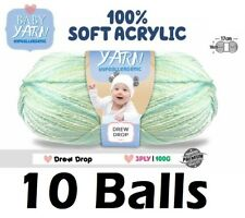 10 x Knitting Baby Yarn Crochet Ball Wool 100g 3Ply Colour Drew Drop Brand New