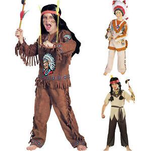 Indianer Indianerin Uramerikaner Kostüm Set Western Verkleidung Mädchen Jungen