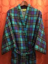 O/S Unused VINTAGE 1980s KIMONO ROBE Cotton Turquoise TEAL Purple Plaid USA